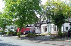 pretty timbered houses in Stockton Heath near Warrington Cheshire