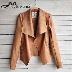 Aliexpress.com: Comprar 2015 nueva moda de otoño mujeres chaqueta de manga larga de la PU Turn Down Collor chaquetas delgado de invierno abrigos abrigos S 4XL de chaqueta de tubo fiable proveedores en Wen sheng Huang