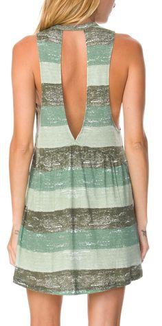 Dusty Olive Striped Dress