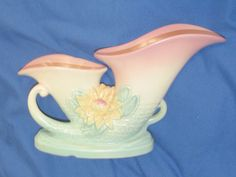 "Vintage 1948 HULL Vase Pinkish Green  L27-12"" Water Lily Double Cornucopia 32 B"