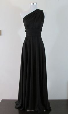 FULL LENGTH Bridemaids dress Convertible Dress in BLACK  Infinity Dress Multiway Dress Dark Wrap dress Maxi $42, + $25= $66 total...see if they can make longer