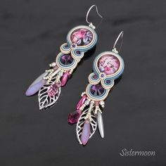 Soutache Earrings, Pink Earrings, Pink Purple, Blue Denim, Belly Button Rings, Roses, Etsy, Vintage, Fashion