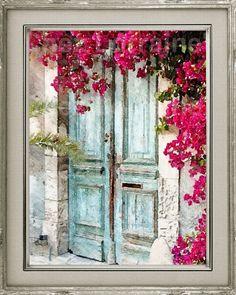 Landhaus Tür Aquarell Fine Art print rustikale französische