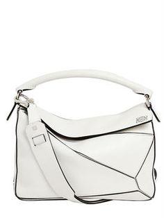 loewe - women - top handles - medium puzzle leather top handle bag White  Leather Handbags cf9e36ba3d