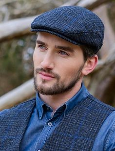Trinity Tweed Flat Cap - Charcoal with Blue Hot Guys, Flat Hats, Mens Fashion Sweaters, Hats For Men, Mens Suits, Tweed, Fashion Edgy, Fashion Hair, Fashion Blogs