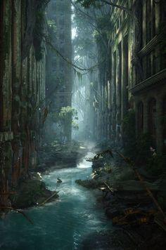 Concept Art City Post Apocalyptic Environment Ideas Concept Art City Post Apocalyptic EnvironmeYou can find Pos. Fantasy City, 3d Fantasy, Fantasy Places, Fantasy Setting, Fantasy World, Final Fantasy, Fantasy Castle, Dark Fantasy, Fantasy Forest