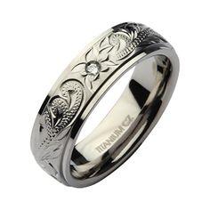 6mm Hand Engraved Titanium CZ Stone Wedding Ring Band - Titanium Rings at Elma UK Jewellery