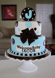 Baby Boy Shower Cake with green instead of black and Grayson for the name