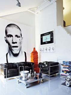 Masculine interior home deco black & white interior