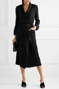 Raquel Allegra - Silk-damask Wrap Dress - Black - 0