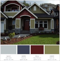 Best Home Exterior Color Combinations And Design Ideas House Paint Exterior, Exterior House Colors, Exterior Color Combinations, Color Schemes, House Painting, Home Goods, Shed, Construction, Outdoor Structures