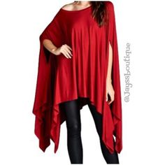 1 HR SPECIALHOST PICKRED Poncho Tunic Red Ultra-soft and flowing, loose fit poncho tunic can be worn as a tunic top, cover-up or dress. Asymmetrical hemline. Edgy and sophisticated, yet comfy. Great as a beach cover-up too. 95% Rayon, 5% Spandex, made in USA. ONE SIZE FITS SMALL - XXXLHOST PICK BY @runwayposh Tops Tunics