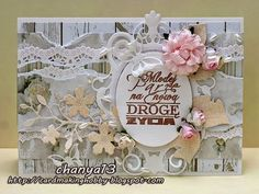 Różą w wersji ślubnej. Birthday Cards For Women, Make Blog, Card Making, Frame, How To Make, Diy, Picture Frame, Bricolage, Do It Yourself