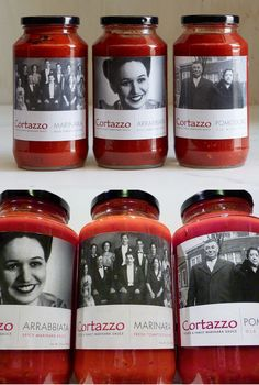 Cortazzo Pasta Sauces have nice clean simple labels that feel like a peek intto an Italian photo album.
