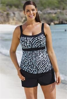 Beach Belle Under The Sea Empire Cargo Shortini - Swim Dress - Ideas of Swim Dress Big And Tall Outfits, Plus Size Outfits, Plus Size Womens Clothing, Clothes For Women, Tankini With Shorts, Tankini Top, Triathlon Clothing, Workout Clothing, Womens Tankini