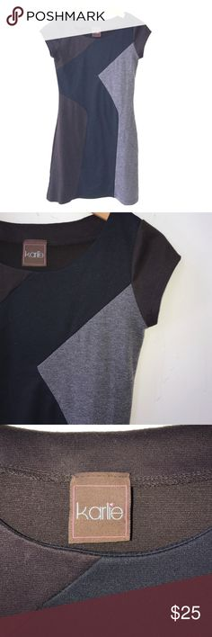 Color Block Tshirt Dress Black, grey, and brown all come together in one simple piece that will undoubtedly be the most versatile dress you own! Can be dressed up or down. Tshirt material is super comfortable in all seasons. Great condition! Dresses