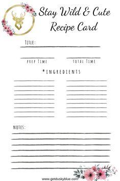 Stay Wild & Cute – Recipe Card