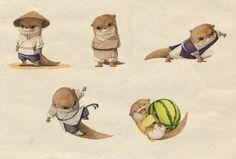 水獭武侠系列人设 Kung Fu Otter Character design on Behance
