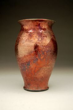 Medium Raku Vase - Metallic Pot - Copper Vase