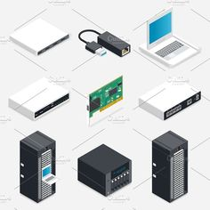 Networking isometric icons set by Equipoise on @creativemarket