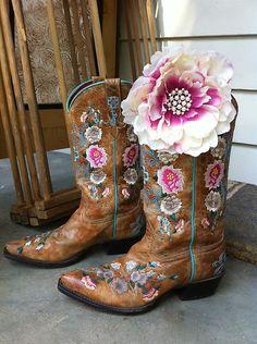 ➳➳➳☮American Hippie Bohemian Boho Bohéme Feathers Gypsy Spirit Bizu Baroque Tati Tati Style - Desert Rose .. Cowboy Boots