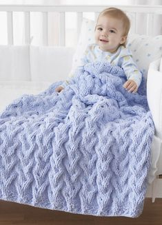 Bernat® Shadow Cable Baby Blanket #knit #pattern