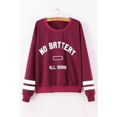 Yoins Letter Boyfriend Sweater (170 NOK) ❤ liked on Polyvore featuring tops, sweaters, shirts, sweatshirt, burgundy, shirts & tops, purple shirt, crewneck sweater, boyfriend shirt and boyfriend sweater
