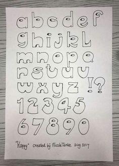 Hand Lettering Alphabet, Doodle Lettering, Creative Lettering, Lettering Styles, Graffiti Lettering, Calligraphy Letters, Alphabet Art, Bullet Journal Font, Journal Fonts
