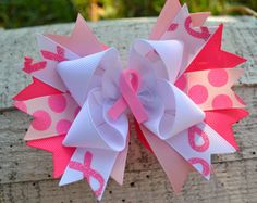 Breast Cancer Awareness Bow by GracefulGirls on Etsy, $11.50