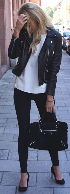 Biker Jacket, White Sweater and Black Leggings | Black And White Winter Street Style | Desiree Nilsson