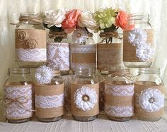 10 x arpillera rústica y encaje blanco cubierto tarro de masón jarrones decoración, compromiso, despedida de soltera, decoración de fiesta de aniversario de boda