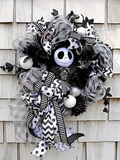 Listed is a cool, creepy and fun Jack Skellington Halloween, all occasion, and Christmas Wreath. I used awesome premium ribbon, deco mesh, Mesh Ribbon Wreaths, Door Wreaths, Halloween Crafts, Halloween Party, Halloween And More, Holidays Halloween, Halloween Wreaths, Halloween Ideas, Halloween Makeup