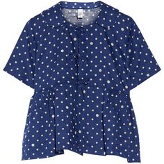 Polka-dot linen top, Women's, Size: S ($560) ❤ liked on Polyvore featuring tops, navy top, blue polka dot top, comme des garcons top, babydoll tops and navy polka dot top