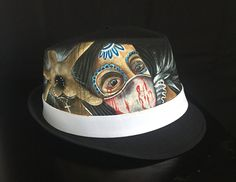 Guardian Angel - Day of the dead style done with pastel colors - Unique! Day of the dead theme on Fedora hat by AMStyleBrand on Etsy