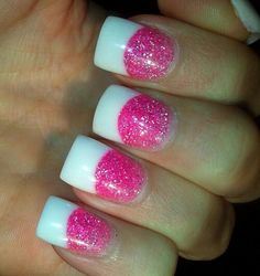 White tips with pink sparkle acrylic powder. I don't like combination think would just fo ejhite or pink but not together.
