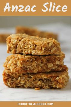 Try them in slice form! This Anzac slice is soft and chewy with the same signature buttery and caramel flavour we've come to love from Anzac biscuits. It's super easy to prepare with pantry staples like oats, flour and golden syrup. Oat Slice Healthy, Oat Biscuit Recipe, Baking Recipes, Cake Recipes, Anzac Biscuits, Aussie Food, Australian Food, Square Cakes