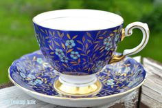 Tuscan Royal Blue Hand Painted Floral Teacup and by TheTeacupAttic