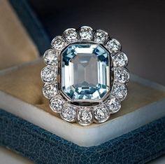 Antique Art Deco Aquamarine 3.00 Ct Vintage Engagement Wedding Ring Circa 1920's