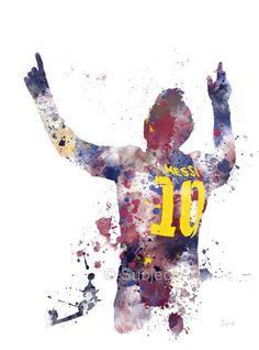 Lionel Messi ART PRINT illustration, Barcelona, Football, Sport, Wall Art, Home Decor