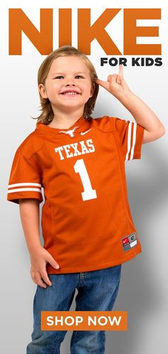 Little Longhorn fans can look like their favorite team in Nike's Toddler Texas Longhorn replica jersey featuring #1 on the front and back with two white sleeve stripes. Your young football fan will look authentic and will love wearing it on Game Day!  Mesh fabric on both sides for a more breathable feel. 100% Polyester.  Shop here: http://www.universitycoop.com/nike-collections-kids-nike