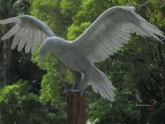 Chicken wire Garden Or Yard / Outside and Outdoor sculpture by artist Ivan Lovatt titled: 'Eagle Landing (Wire Mesh life size garden/Yard Raptor Flying statues)'