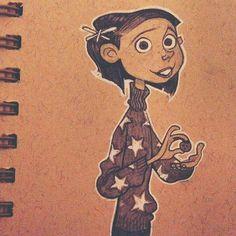 Bu- Bu- Button, Coraline from my sketchbook. brittanymyersart.tumblr.com @brittmyersart