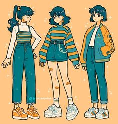 Here's an image with examples of different types of casual sitting poses. This is the part of the video talking about how to draw these poses. For more tips and explanations, visit the video linked to this pin! Anime Outfits, Mode Outfits, Casual Outfits, Art Drawings Sketches, Cute Drawings, Outfit Drawings, Aesthetic Art, Aesthetic Clothes, Aesthetic Yellow