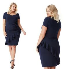Royal blue vestito curvy a tubino con le balze  Taglie 52 e 54  https://www.lorcastyle.it