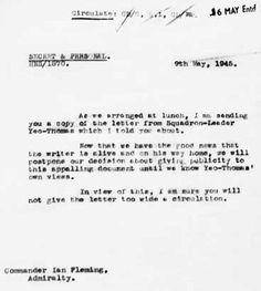 Memo: James Bond author Ian Fleming, who also worked in intelligence during the war, informed colleagues of Yeo-Thomas's escape from the Gestapo in this 1945 document World War I, James Bond, Rabbit, Writer, Author, Lettering, History, Inspiration, Historia