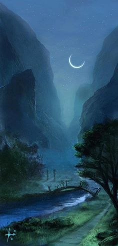 Moonlight river painting in deep blues
