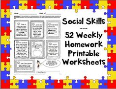 This pack contains 52 pages of social skills take-home worksheets (in PDF format), each of which in turn contains 7 exercises/activities. That means you are getting 365 activities, one for each day of the year! This makes these worksheets the perfect Speech homework for students on the Autism Spectrum (HFA), those with Social skill or problem-solving deficits, those working on pragmatics, or even just your language kiddos.