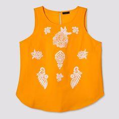 b86d29265a88b Women s Marigold Floral Appliqué Tank Top - Victoria Beckham for Target NEW  L