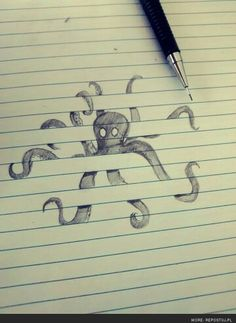 Octopus such a cool idea... And they say never draw on lined paper.