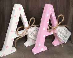 Shabby Chic Wooden Personalised Letter Initial Free Standing Baby Girl Boy Gift in Home, Furniture & DIY, Home Decor, Plaques & Signs   eBay